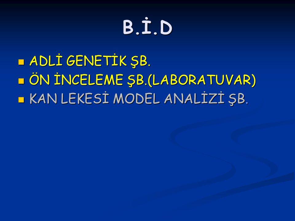 B.İ.D ADLİ GENETİK ŞB. ÖN İNCELEME ŞB.(LABORATUVAR)