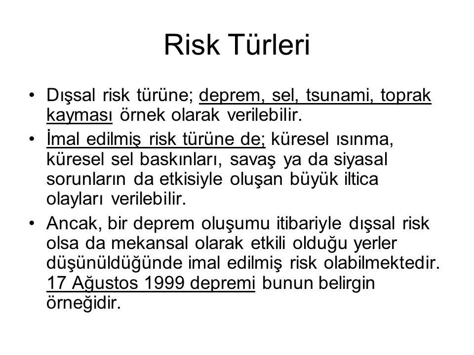 Risk Türleri Dışsal risk türüne; deprem, sel, tsunami, toprak kayması örnek olarak verilebilir.