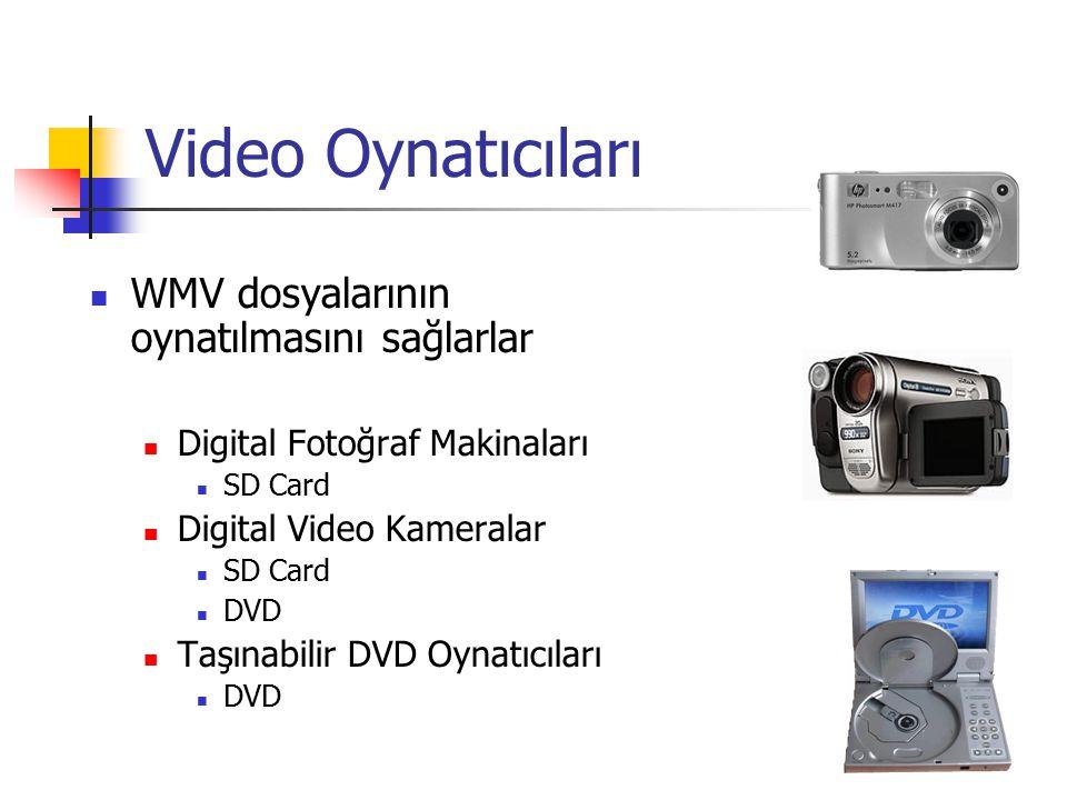 Video Oynatıcıları WMV dosyalarının oynatılmasını sağlarlar