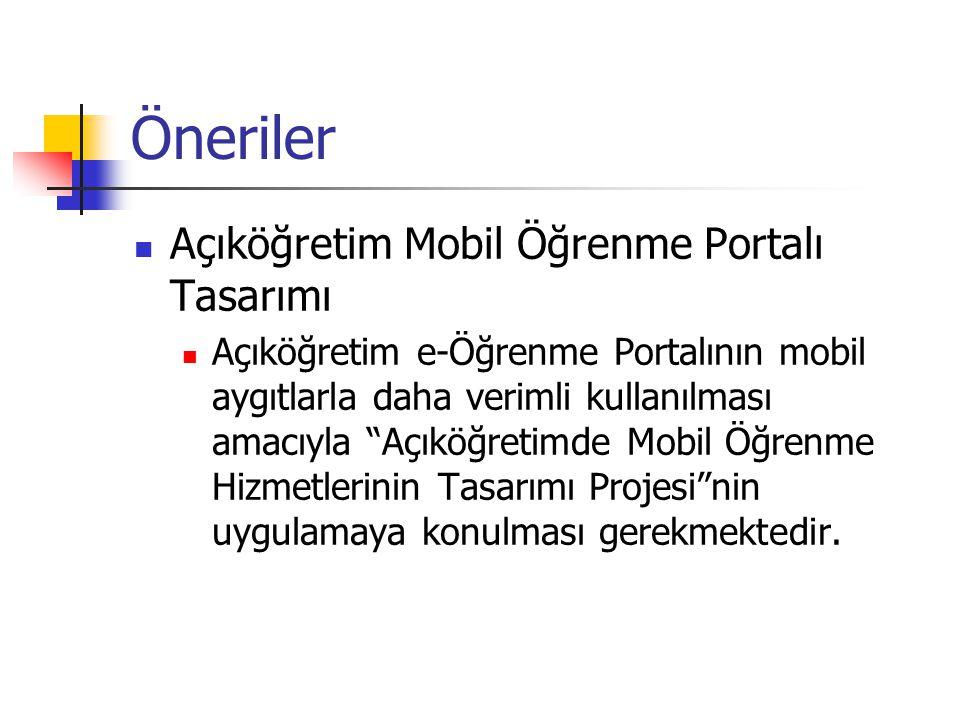 Öneriler Açıköğretim Mobil Öğrenme Portalı Tasarımı