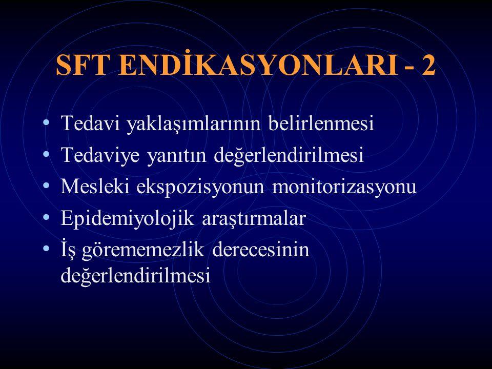 SFT ENDİKASYONLARI - 2 Tedavi yaklaşımlarının belirlenmesi