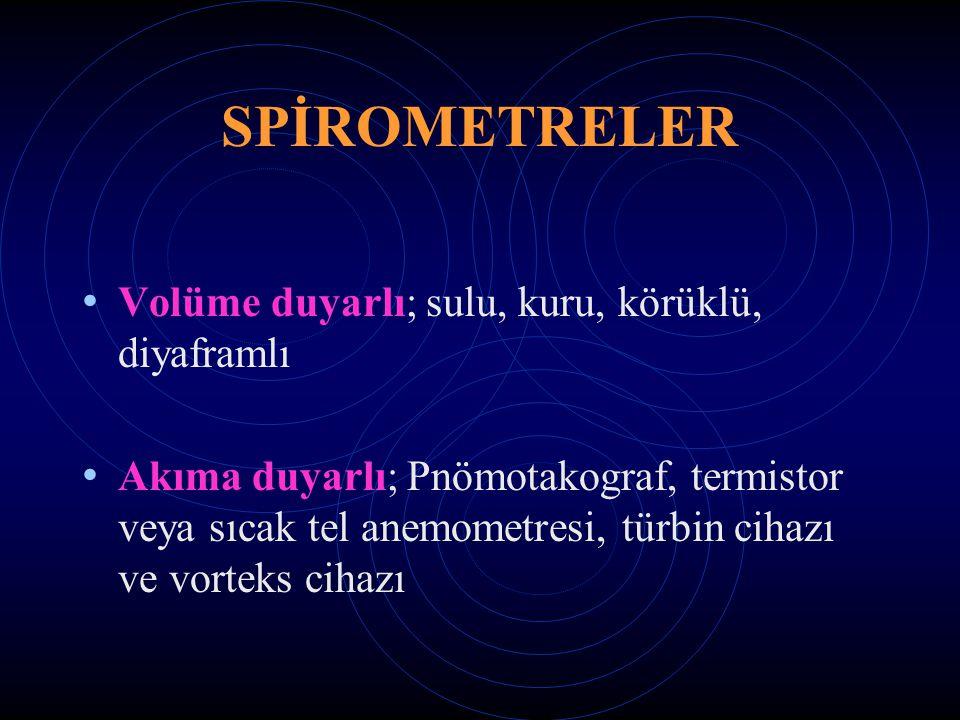 SPİROMETRELER Volüme duyarlı; sulu, kuru, körüklü, diyaframlı