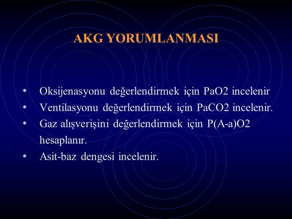 AKG YORUMLANMASI Oksijenasyonu değerlendirmek için PaO2 incelenir