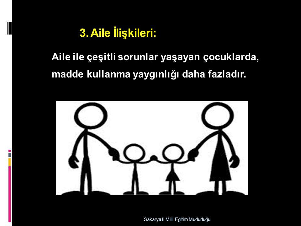 3. Aile İlişkileri: Aile ile çeşitli sorunlar yaşayan çocuklarda,