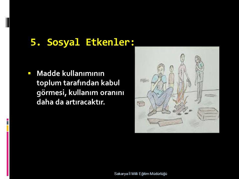 5. Sosyal Etkenler: Madde kullanımının toplum tarafından kabul görmesi, kullanım oranını daha da artıracaktır.