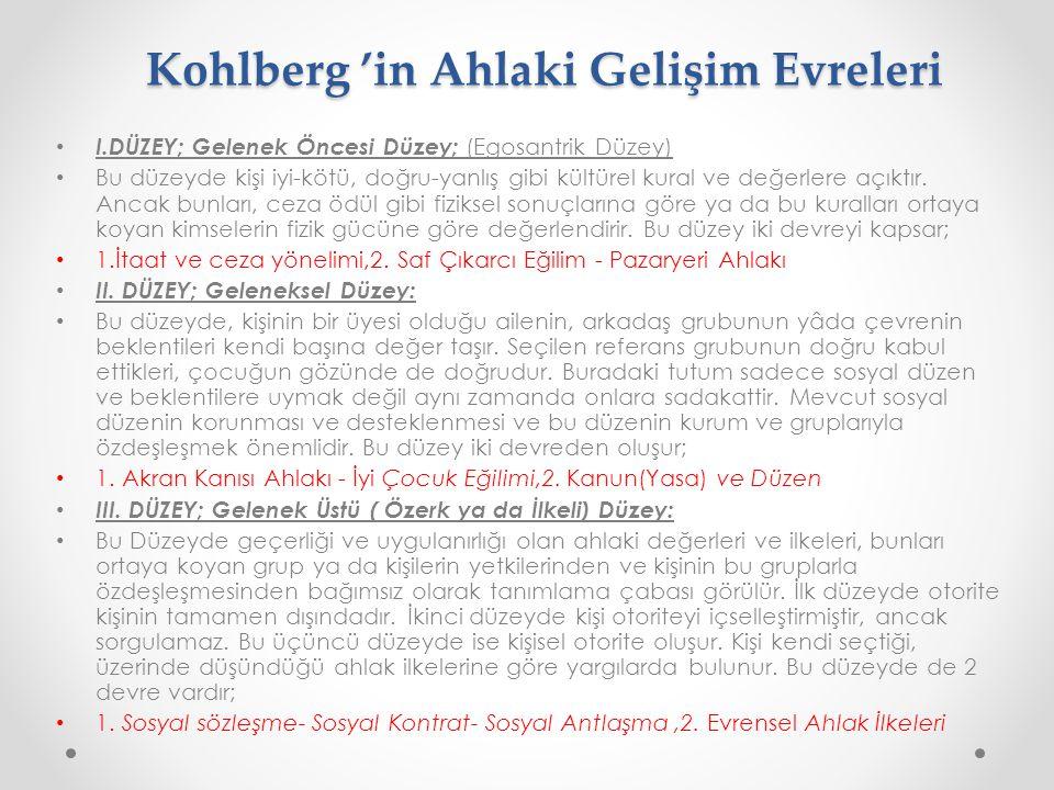Kohlberg 'in Ahlaki Gelişim Evreleri