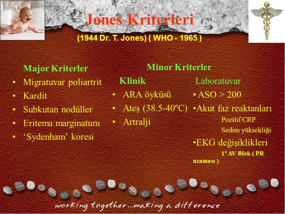 Jones Kriterleri Major Kriterler Migratuvar poliartrit Kardit