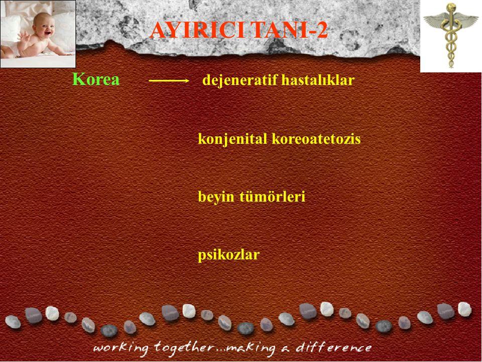 AYIRICI TANI-2 Korea dejeneratif hastalıklar konjenital koreoatetozis
