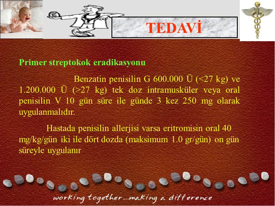 TEDAVİ Primer streptokok eradikasyonu