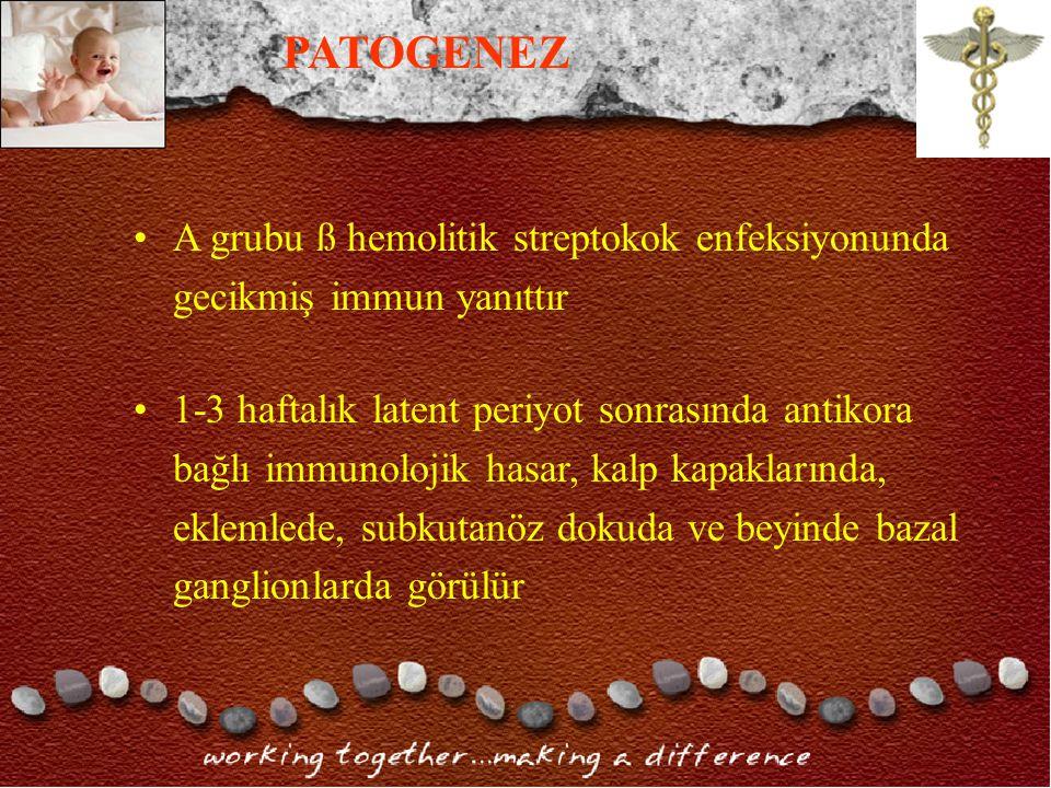 PATOGENEZ A grubu ß hemolitik streptokok enfeksiyonunda gecikmiş immun yanıttır.