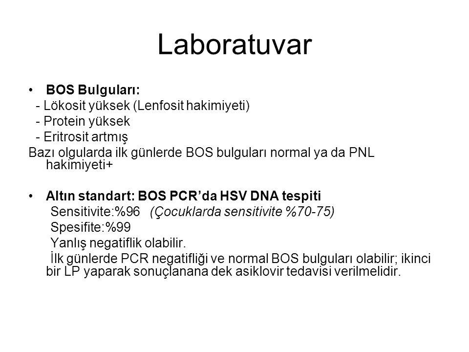 Laboratuvar BOS Bulguları: - Lökosit yüksek (Lenfosit hakimiyeti)