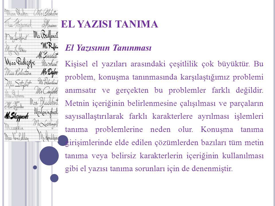 EL YAZISI TANIMA El Yazısının Tanınması