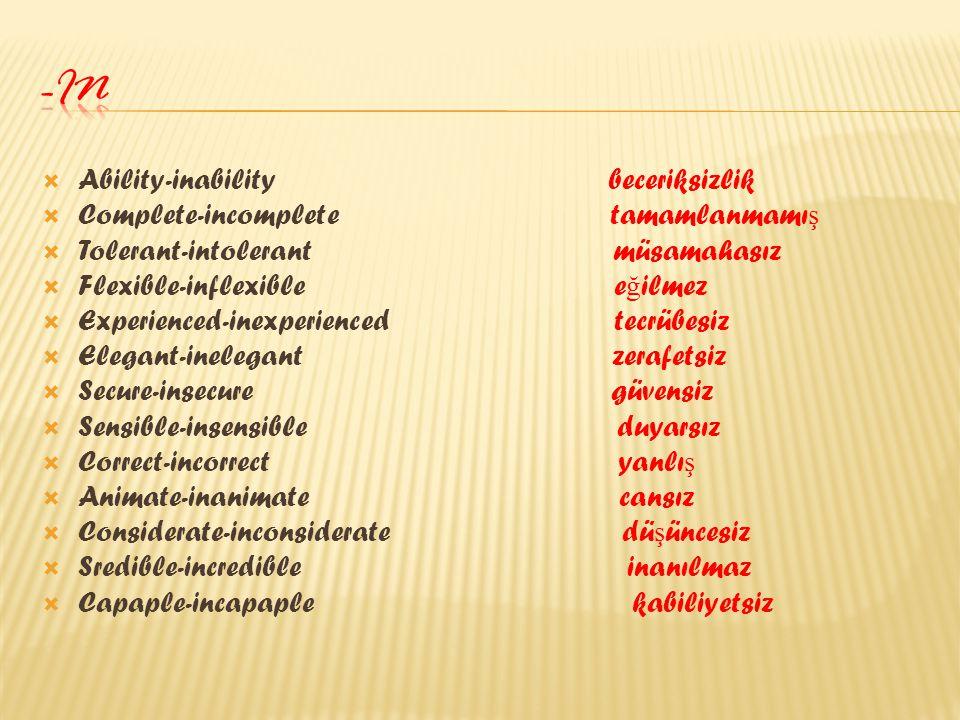 -in Ability-inability beceriksizlik Complete-incomplete tamamlanmamış