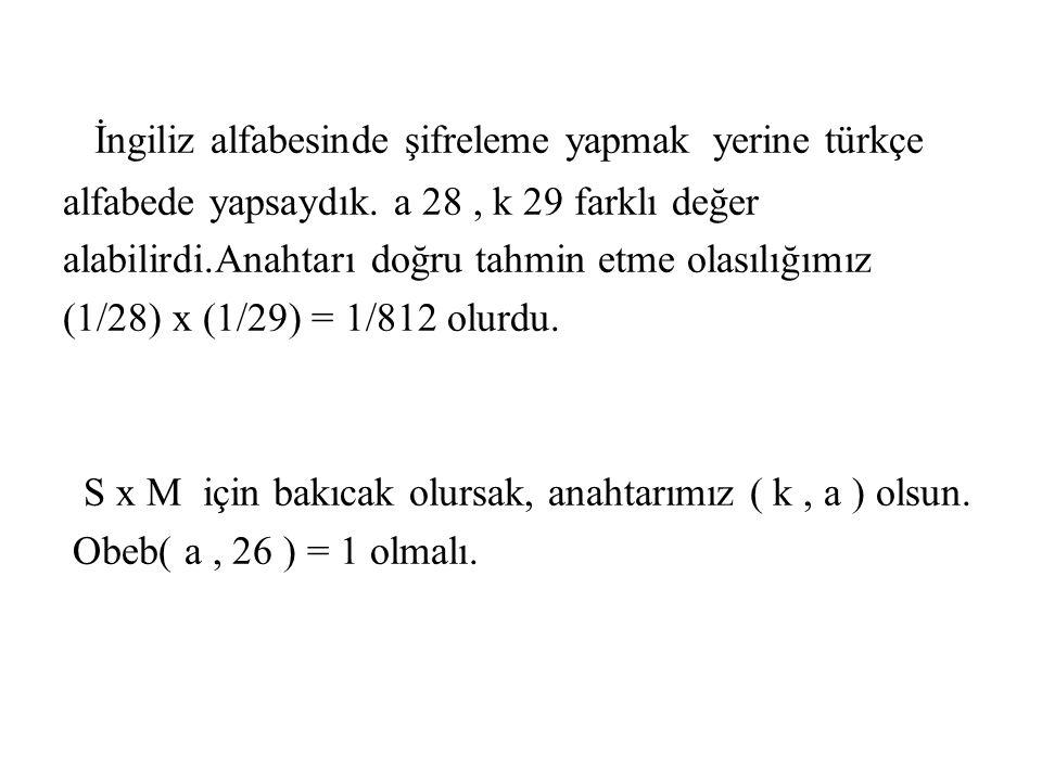 İngiliz alfabesinde şifreleme yapmak yerine türkçe