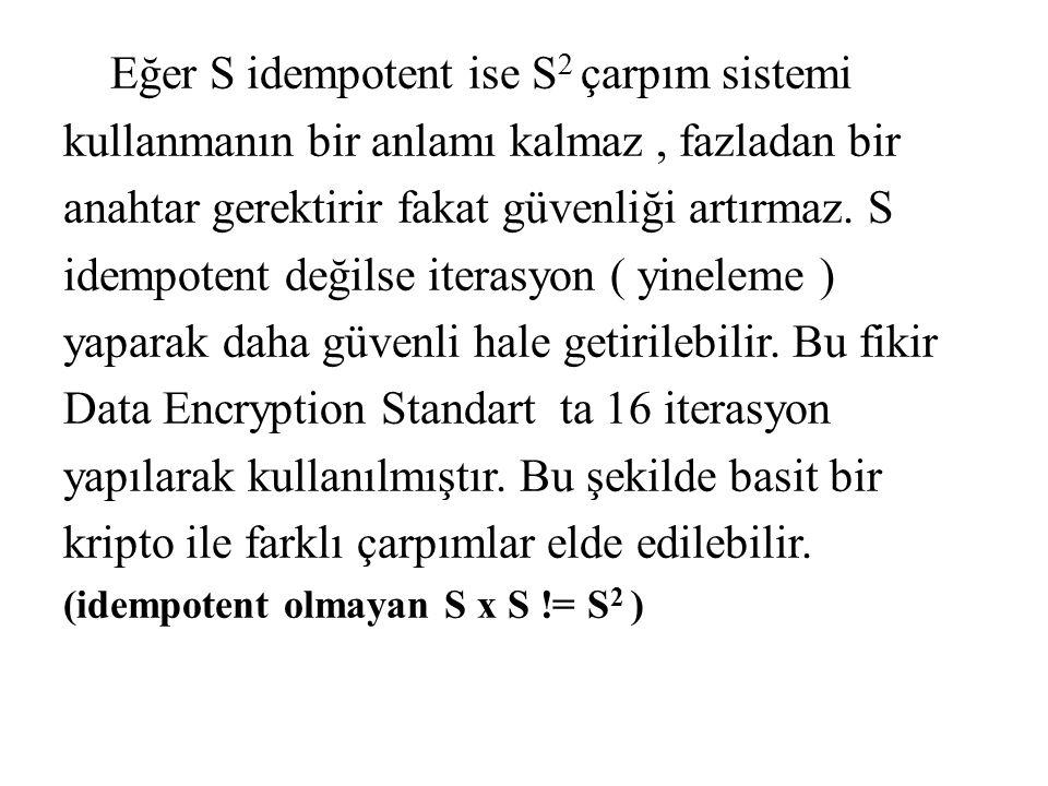 Eğer S idempotent ise S2 çarpım sistemi