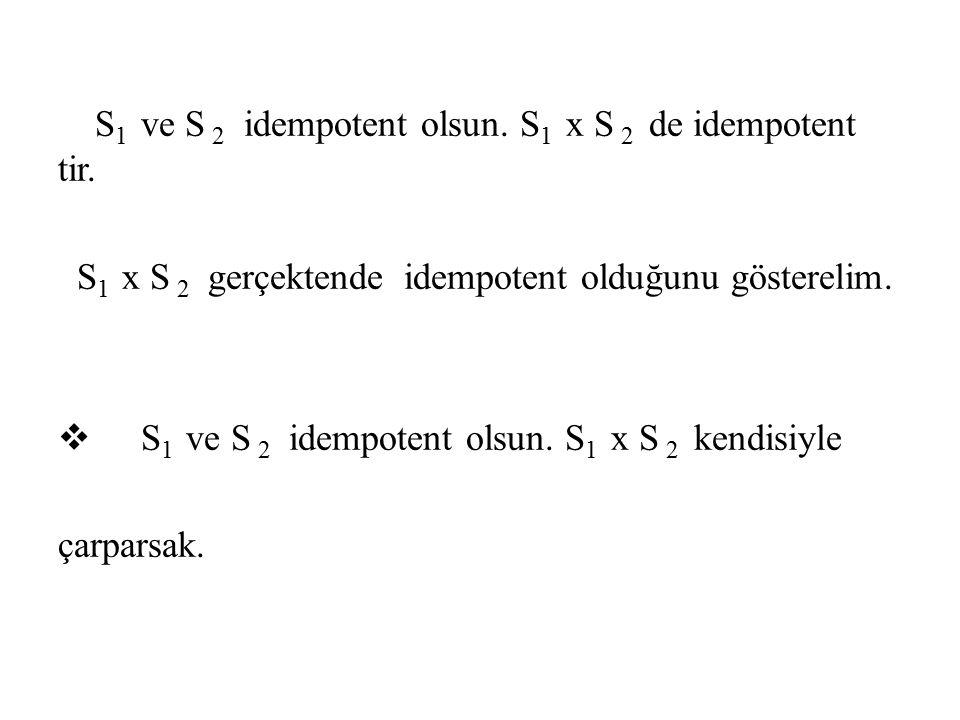 S1 ve S 2 idempotent olsun. S1 x S 2 de idempotent tir.