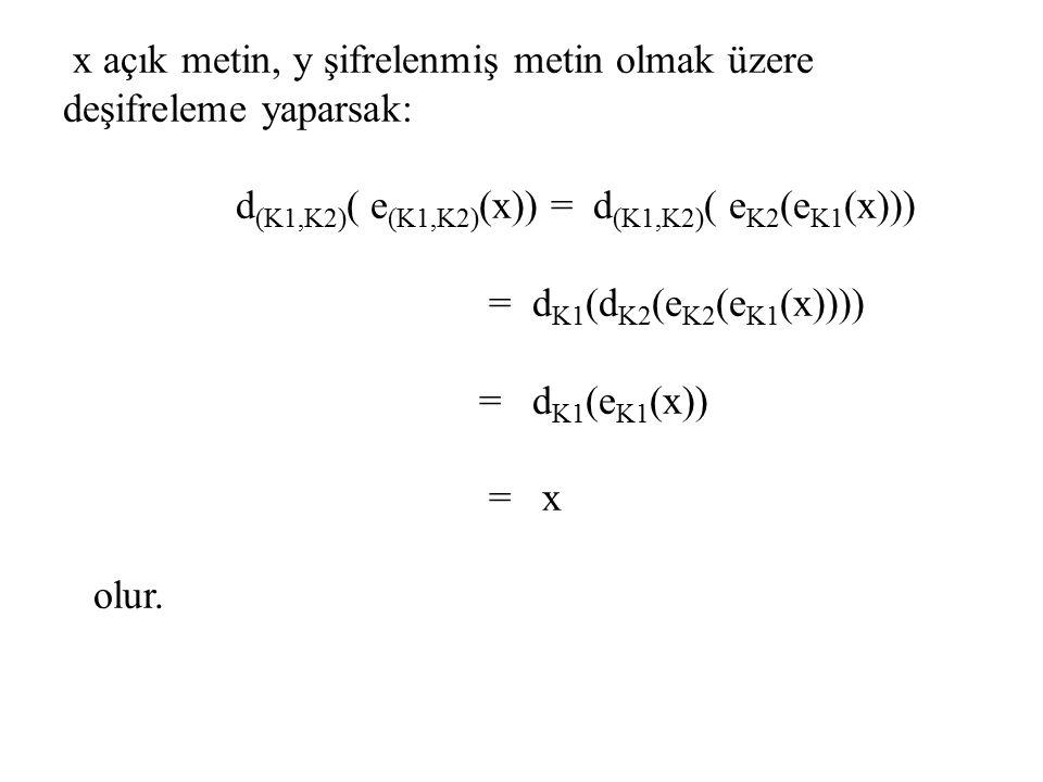 x açık metin, y şifrelenmiş metin olmak üzere deşifreleme yaparsak: d(K1,K2)( e(K1,K2)(x)) = d(K1,K2)( eK2(eK1(x))) = dK1(dK2(eK2(eK1(x)))) = dK1(eK1(x)) = x olur.