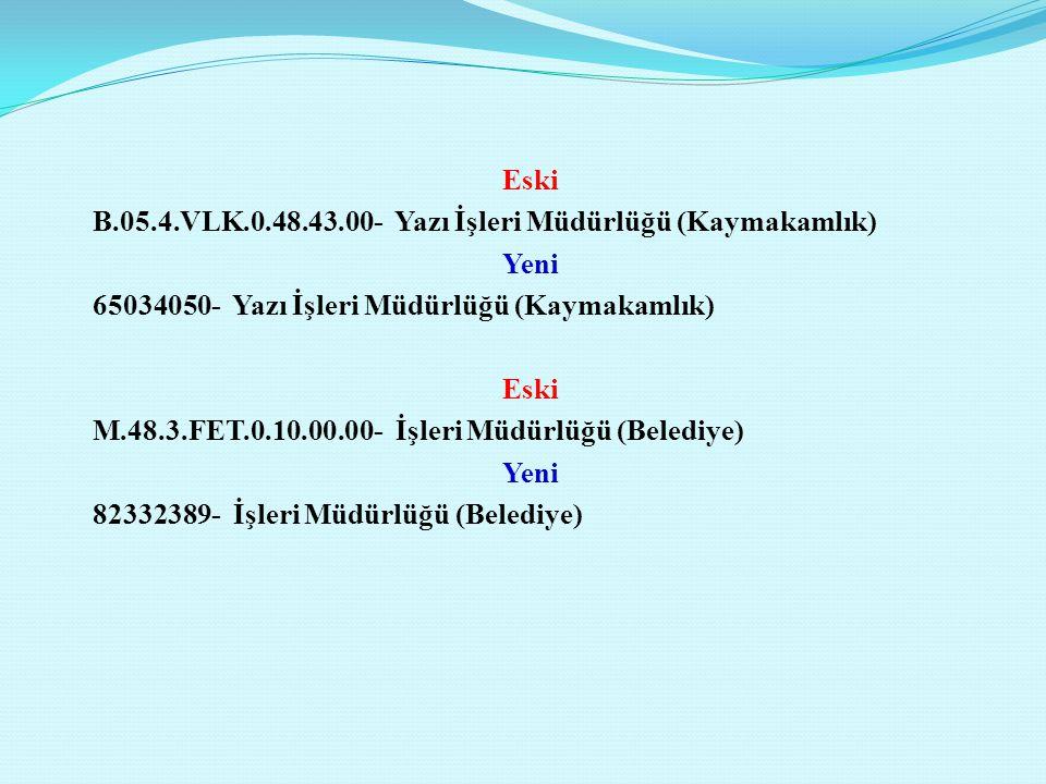 Eski B.05.4.VLK.0.48.43.00- Yazı İşleri Müdürlüğü (Kaymakamlık) Yeni 65034050- Yazı İşleri Müdürlüğü (Kaymakamlık) M.48.3.FET.0.10.00.00- İşleri Müdürlüğü (Belediye) 82332389- İşleri Müdürlüğü (Belediye)