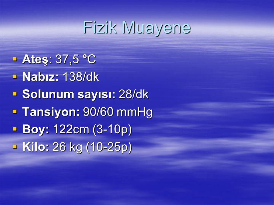 Fizik Muayene Ateş: 37,5 °C Nabız: 138/dk Solunum sayısı: 28/dk