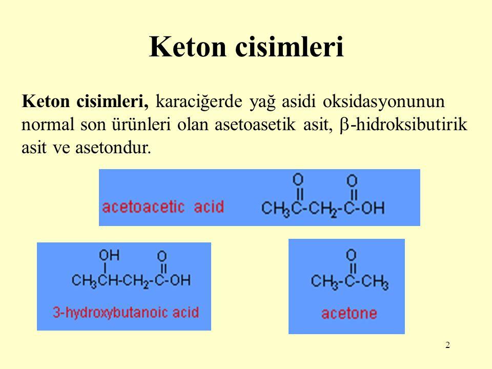 Keton cisimleri Keton cisimleri, karaciğerde yağ asidi oksidasyonunun normal son ürünleri olan asetoasetik asit, -hidroksibutirik asit ve asetondur.