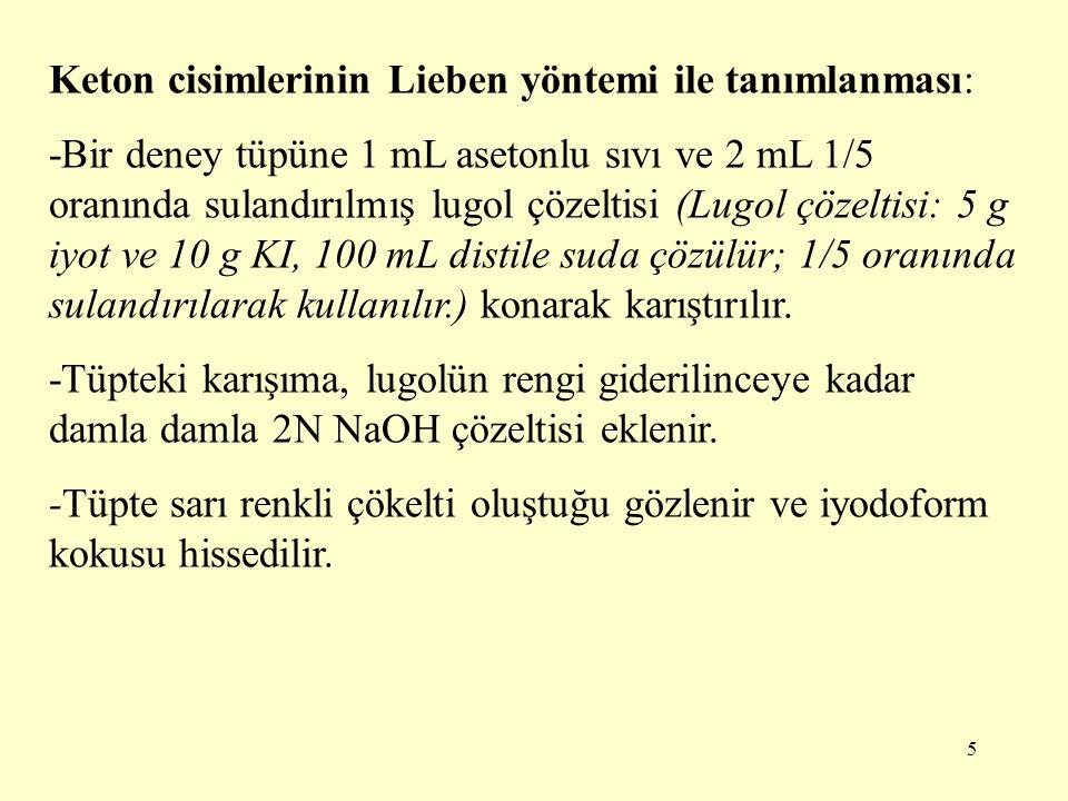 Keton cisimlerinin Lieben yöntemi ile tanımlanması:
