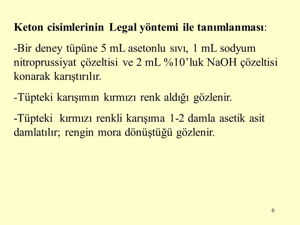 Keton cisimlerinin Legal yöntemi ile tanımlanması: