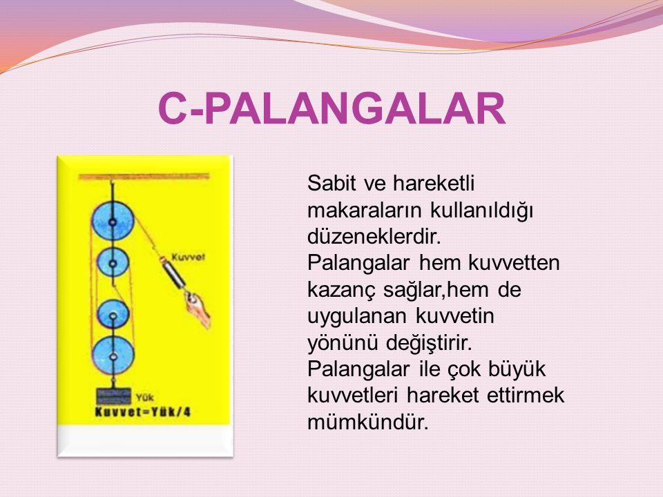 C-PALANGALAR Sabit ve hareketli makaraların kullanıldığı düzeneklerdir.