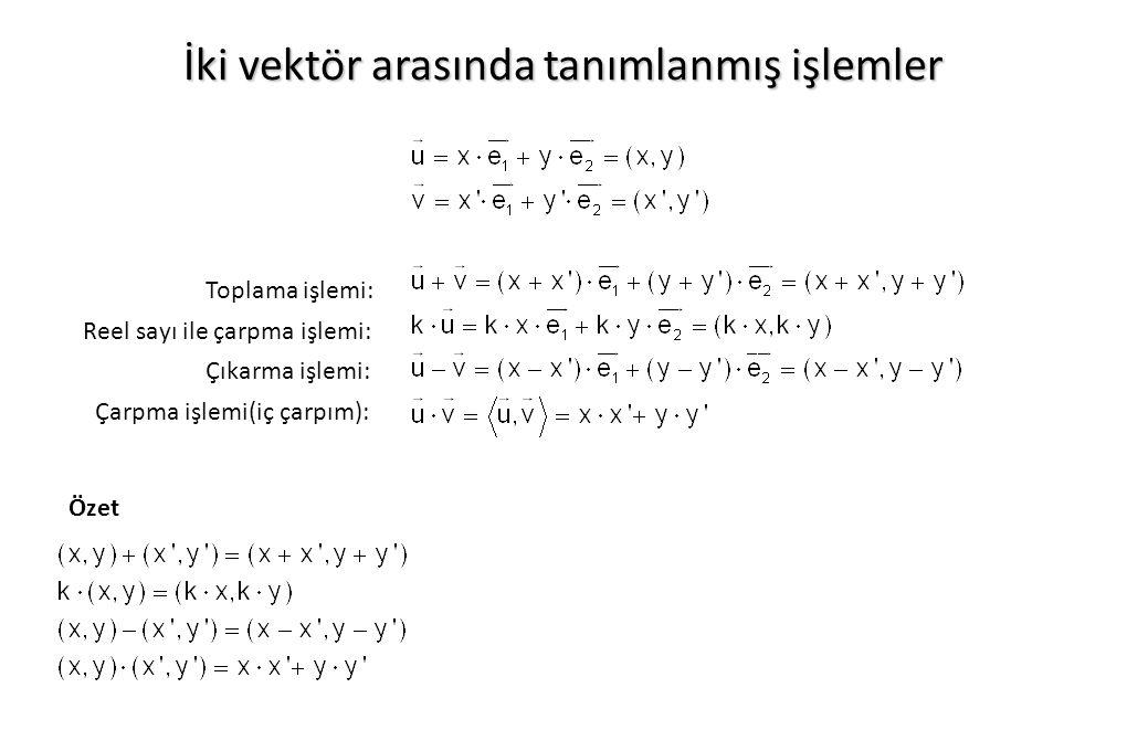 İki vektör arasında tanımlanmış işlemler