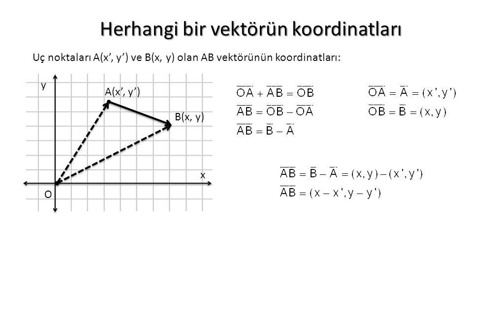 Herhangi bir vektörün koordinatları