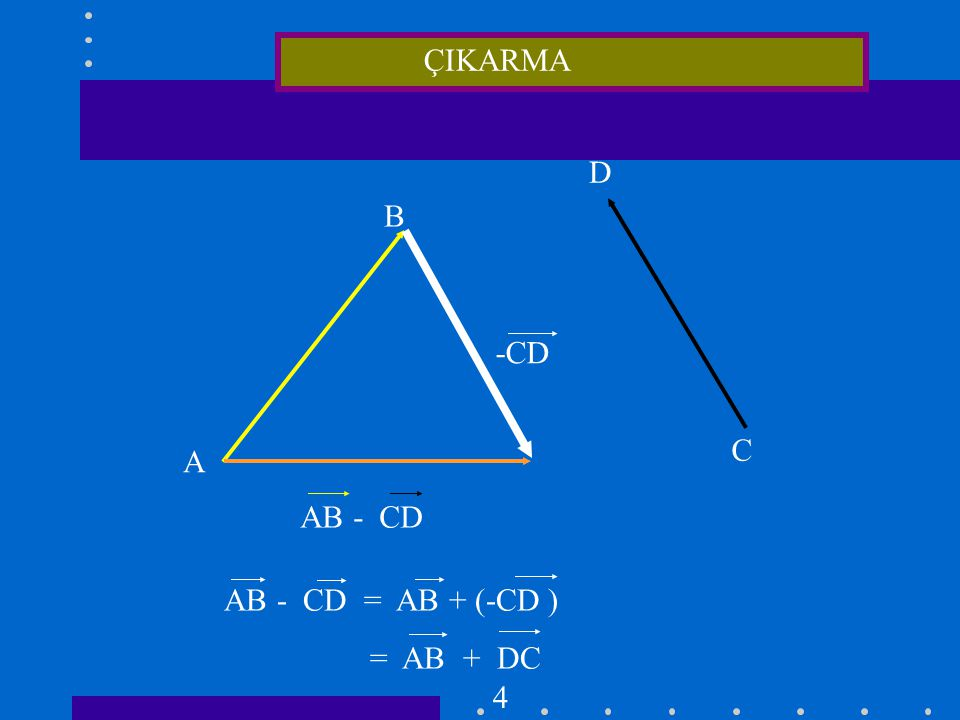 ÇIKARMA D B -CD C A AB - CD AB - CD = AB + (-CD ) = AB + DC 4