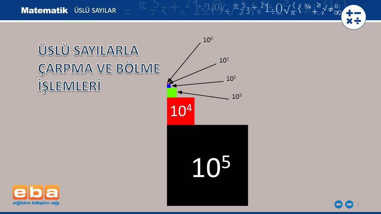 105 104 ÜSLÜ SAYILARLA ÇARPMA VE BÖLME İŞLEMLERİ ÜSLÜ SAYILAR 100 101