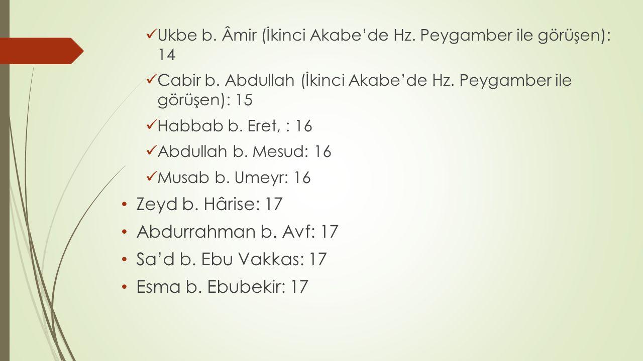 Zeyd b. Hârise: 17 Abdurrahman b. Avf: 17 Sa'd b. Ebu Vakkas: 17