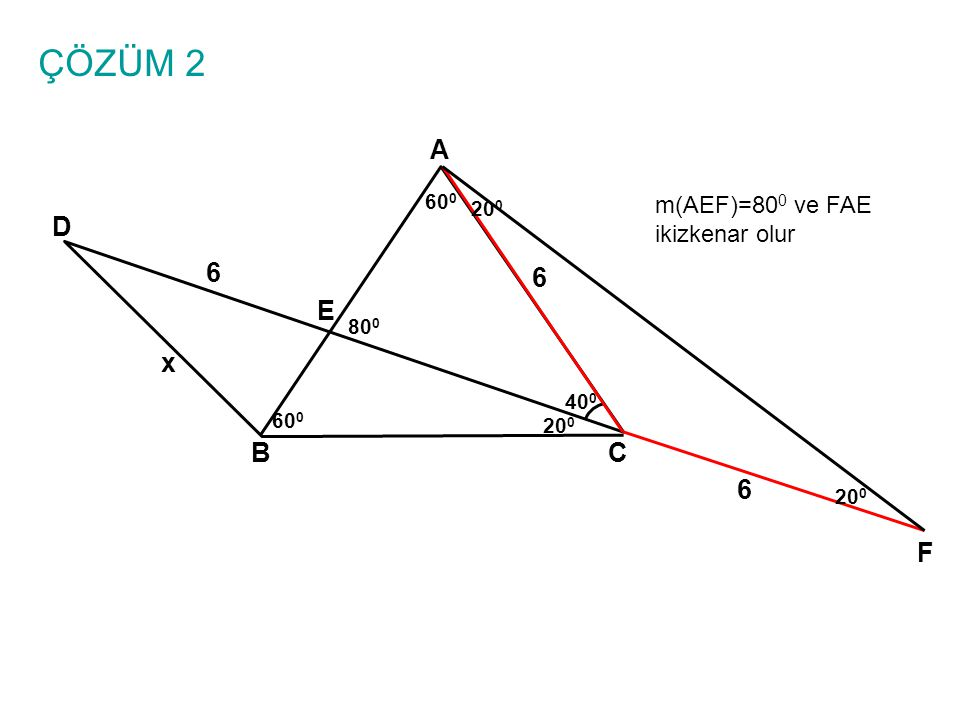ÇÖZÜM 2 A D 6 6 E x B C 6 F m(AEF)=800 ve FAE ikizkenar olur 600 200
