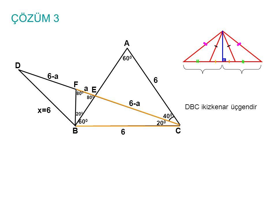 ÇÖZÜM 3 A D 6-a 6 F a E 6-a x=6 B 6 C DBC ikizkenar üçgendir 600 400