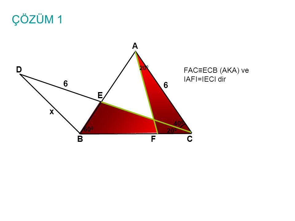 ÇÖZÜM 1 A D 6 6 E x B F C FAC≡ECB (AKA) ve IAFI=IECI dir 400 600 200