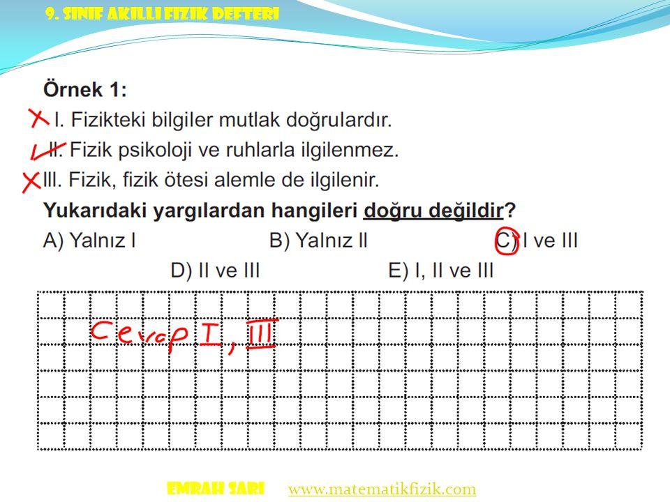 9. Sınıf akıllı fizik defteri
