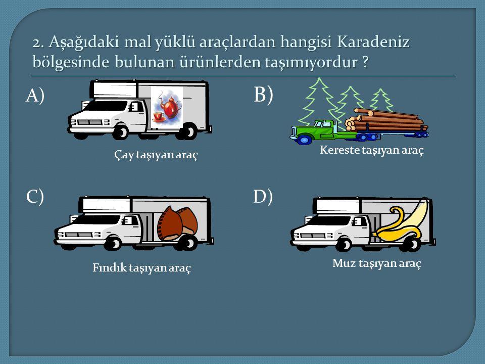 2. Aşağıdaki mal yüklü araçlardan hangisi Karadeniz bölgesinde bulunan ürünlerden taşımıyordur