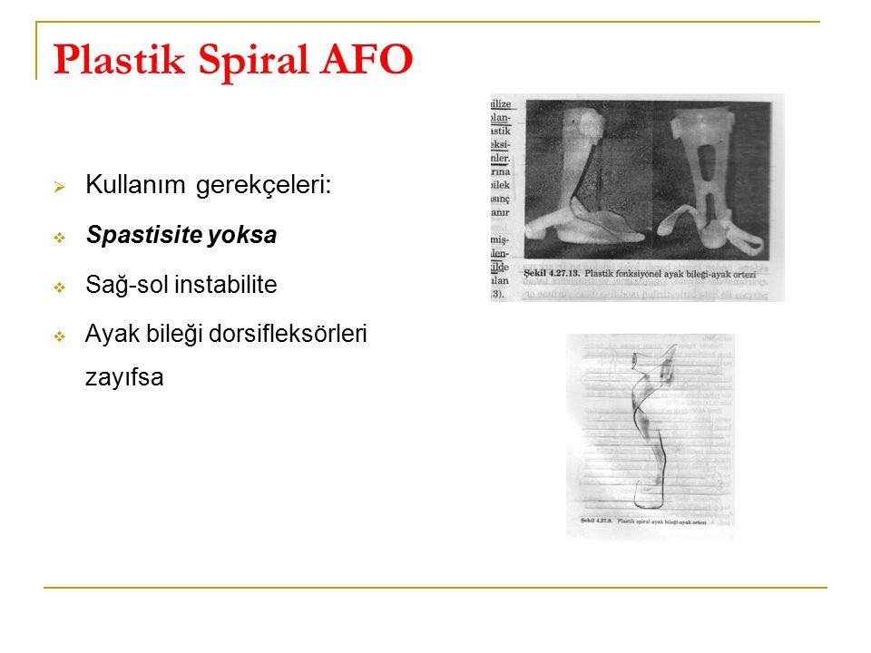 Plastik Spiral AFO Kullanım gerekçeleri: Spastisite yoksa