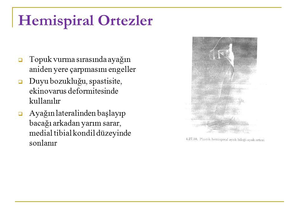 Hemispiral Ortezler Topuk vurma sırasında ayağın aniden yere çarpmasını engeller. Duyu bozukluğu, spastisite, ekinovarus deformitesinde kullanılır.