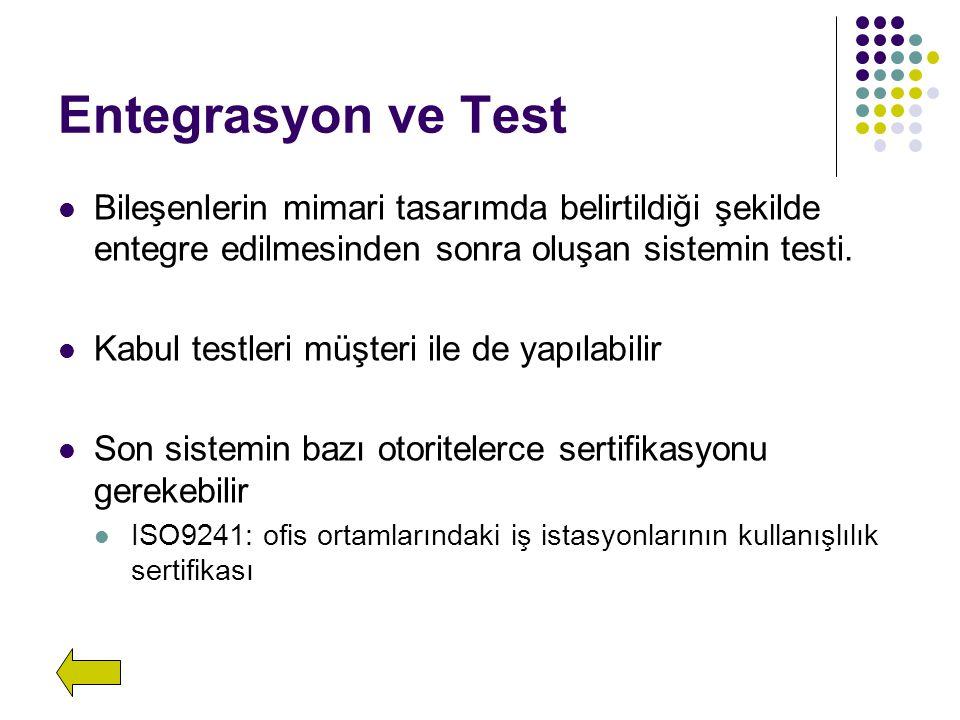 Entegrasyon ve Test Bileşenlerin mimari tasarımda belirtildiği şekilde entegre edilmesinden sonra oluşan sistemin testi.