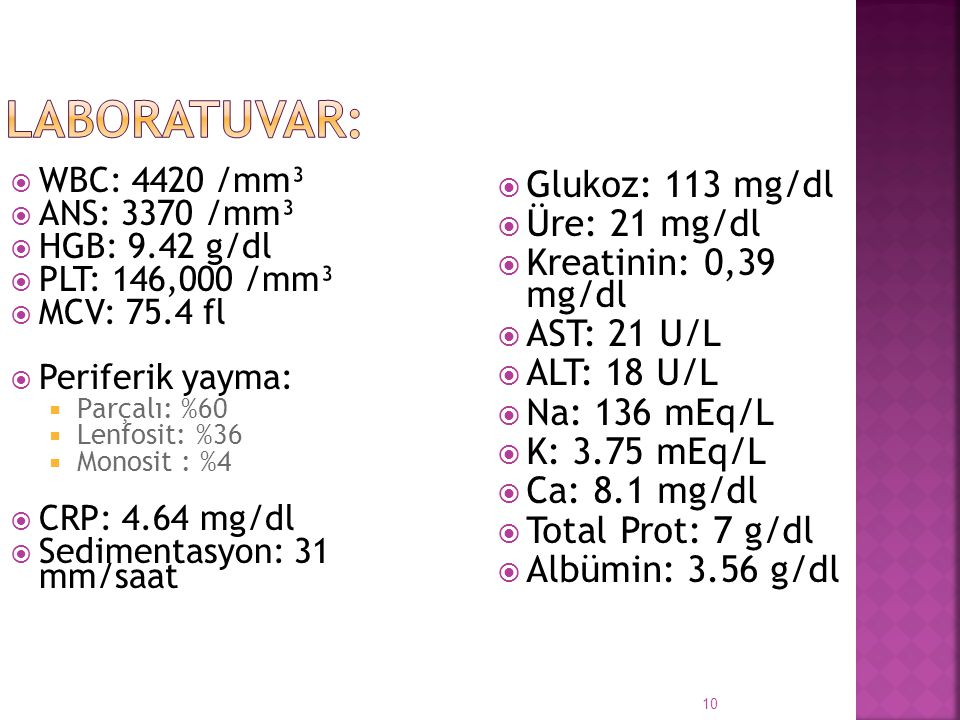 LABORATUVAR: Glukoz: 113 mg/dl Üre: 21 mg/dl Kreatinin: 0,39 mg/dl