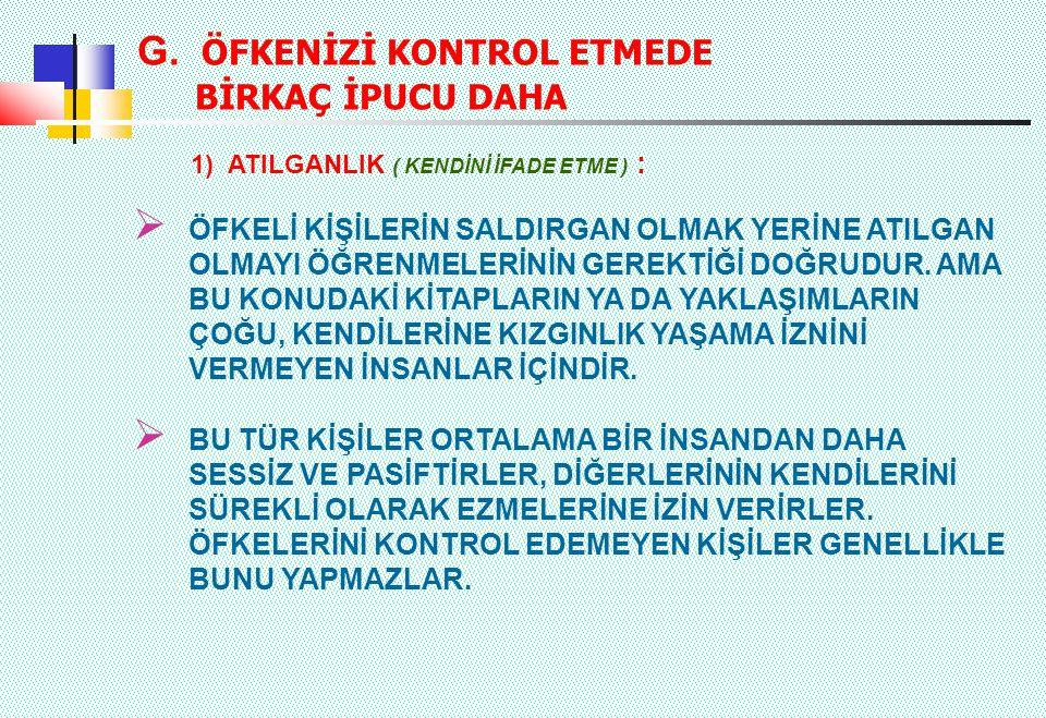 G. ÖFKENİZİ KONTROL ETMEDE BİRKAÇ İPUCU DAHA