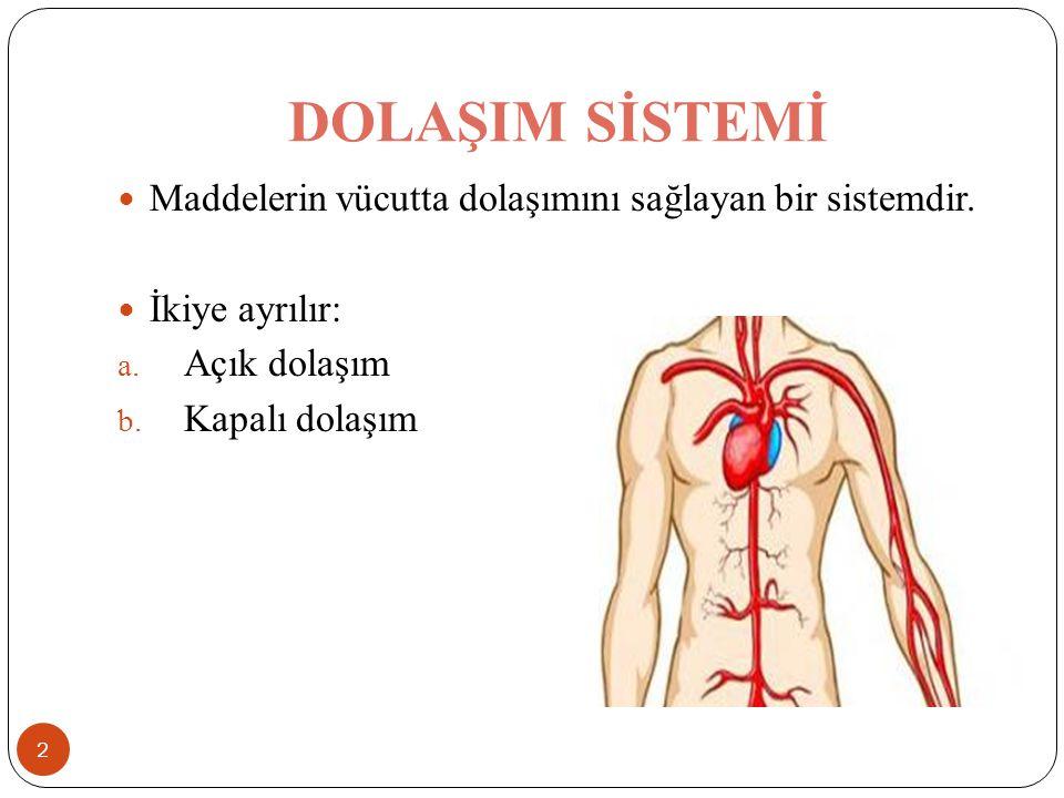 DOLAŞIM SİSTEMİ Maddelerin vücutta dolaşımını sağlayan bir sistemdir.