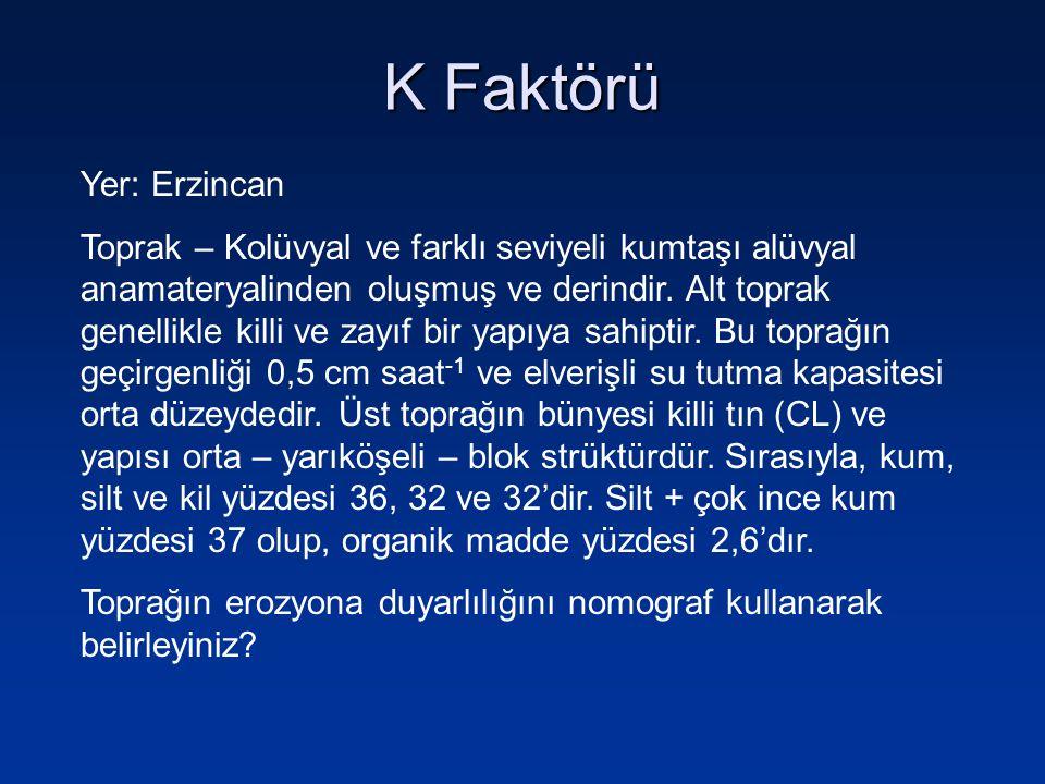 K Faktörü Yer: Erzincan