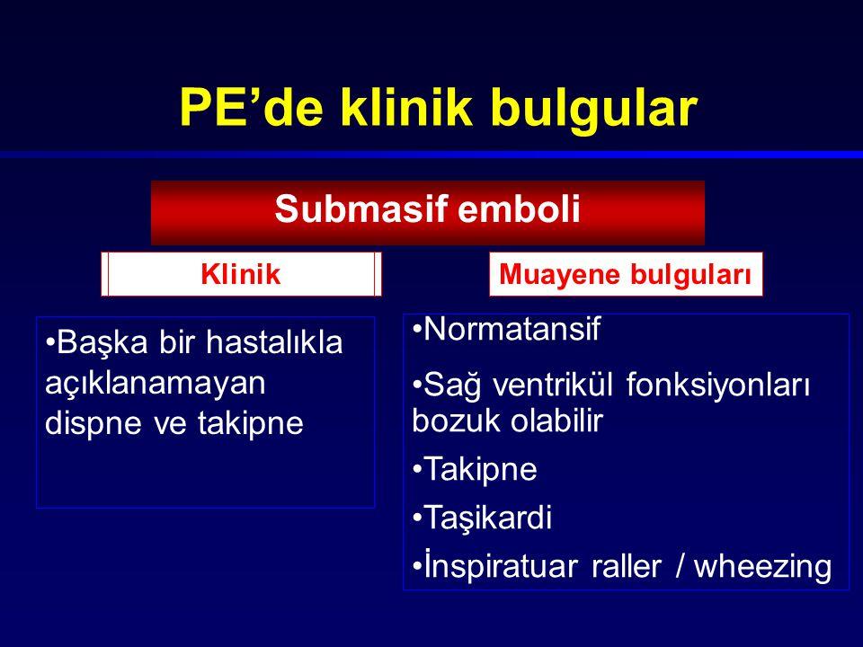 PE'de klinik bulgular Submasif emboli