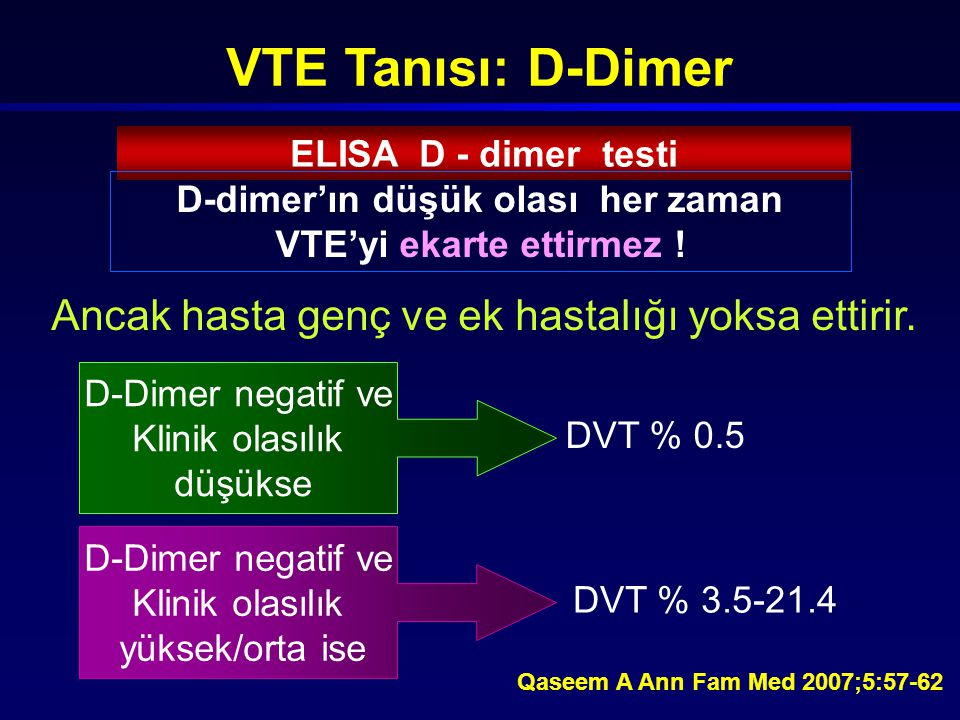 D-dimer'ın düşük olası her zaman VTE'yi ekarte ettirmez !