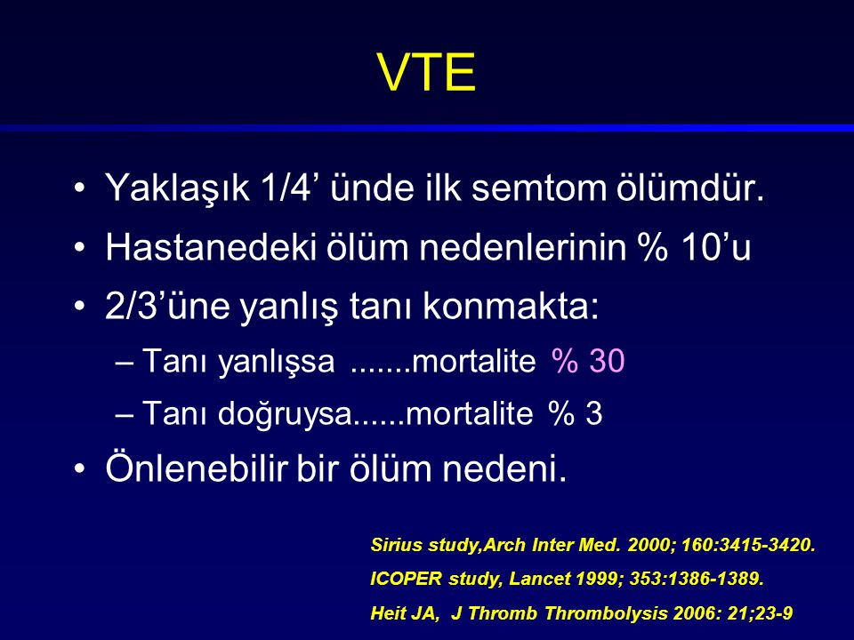 VTE Yaklaşık 1/4' ünde ilk semtom ölümdür.