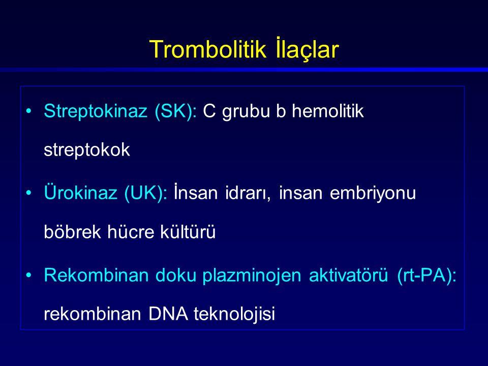 Trombolitik İlaçlar Streptokinaz (SK): C grubu b hemolitik streptokok