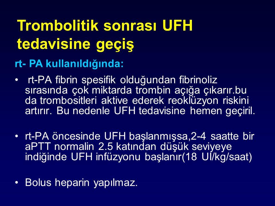 Trombolitik sonrası UFH tedavisine geçiş