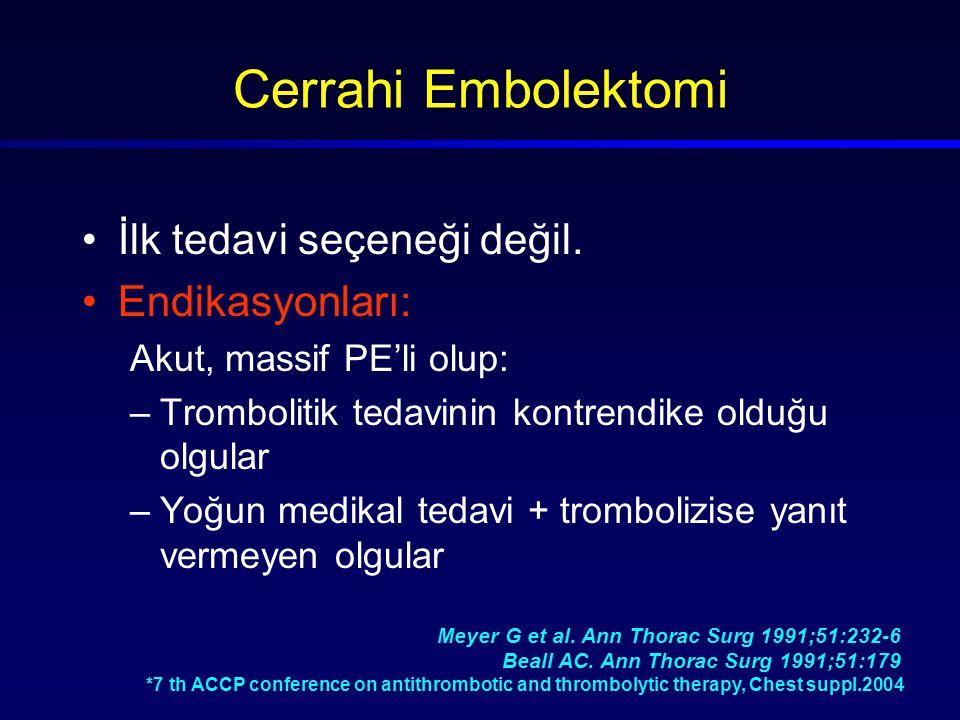 Cerrahi Embolektomi İlk tedavi seçeneği değil. Endikasyonları: